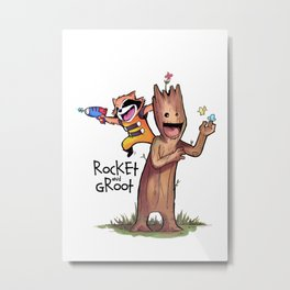 Rocket and Groot Metal Print