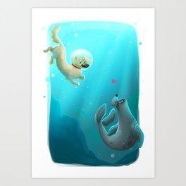 Mer-dog Art Print
