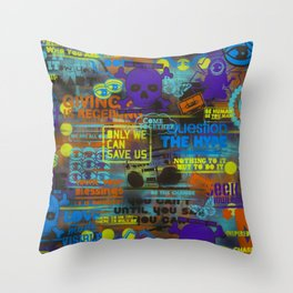 Uplifting Collage (fluo) Throw Pillow