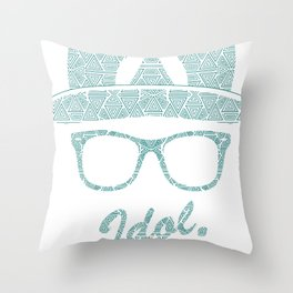 White on Black Circular Logo Throw Pillow
