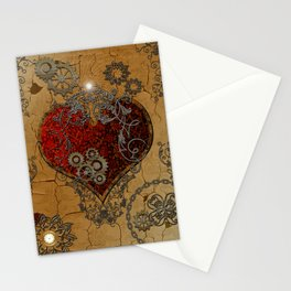 Steampunk, awesome heart Stationery Cards