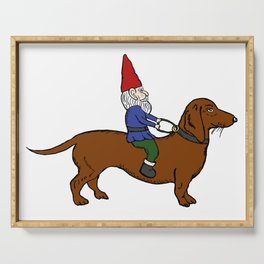 Gnome Riding a Dachshund Serving Tray