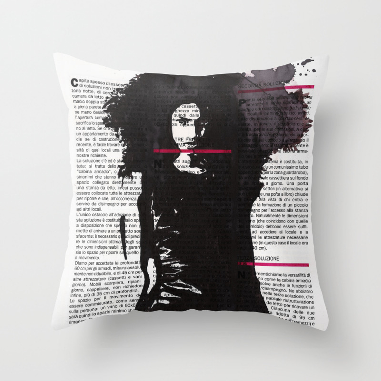 Ricavare Una Cabina Armadio karina - ink drawing over vintage magazine page throw pillow by layla-oz