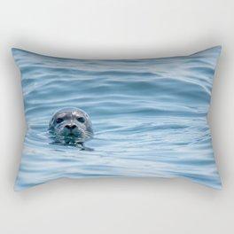 Black Seal Bobbing In Calm Blue Ocean Rectangular Pillow