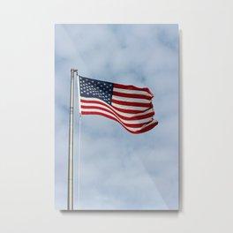 American Flag waving in the Sky Metal Print