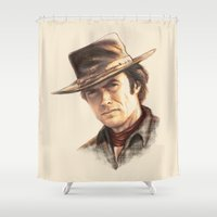 clint eastwood Shower Curtains featuring Clint Eastwood tribute by TOXIC RETRO
