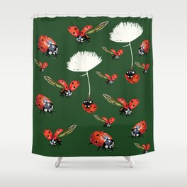 Ladybug flight Shower Curtain
