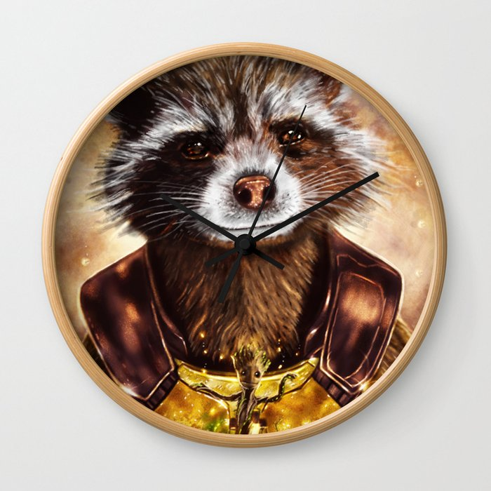Rocket Raccoon and baby Groot from Guardians of the Galaxy Wall Clock