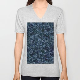 Blue Lagoon Midnight Rippled Water Abstract Unisex V-Neck