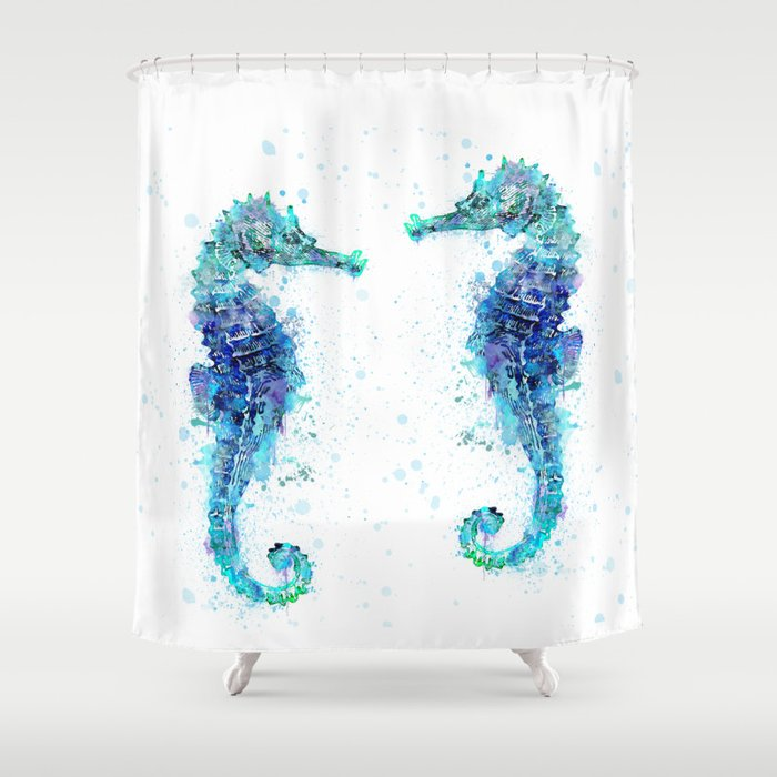Blue Turquoise Watercolor Seahorse Shower Curtain By Lebensart