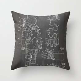 Nasa Apollo Spacesuite Patent - Nasa Astronaut Art - Black Chalkboard Throw Pillow