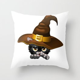 Black Kitten Cartoon With Witch Hat Throw Pillow