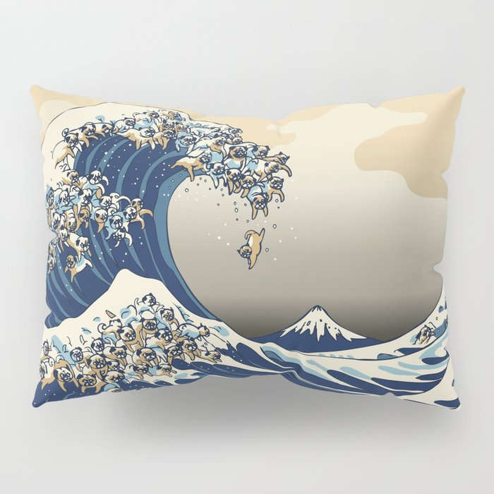 The Great Wave of Pugs Vanilla Sky Pillow Sham