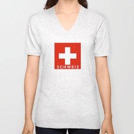 Switzerland country flag Schweiz name text Unisex V-Neck