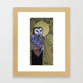 Barn Owl Art Nouveau Panel in yellow Framed Art Print