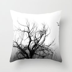 Tree in Fog Throw Pillow