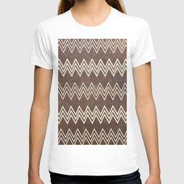 Vintage brown white rustic faux leather chevron T-shirt