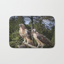 Pair of Red-tail Hawks Bath Mat
