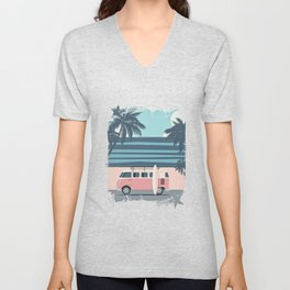 Surfer Graphic Beach Palm-Tree Camper-Van Art Unisex V-Neck