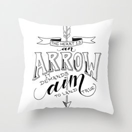 The Heart is an Arrow Throw Pillow