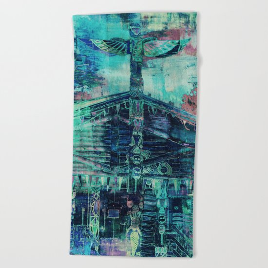 Totem Cabin Abstract - Teal Beach Towel