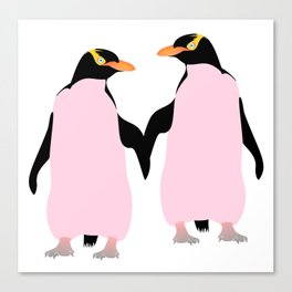 Gay Pride Lesbian Penguins Holding Hands Canvas Print