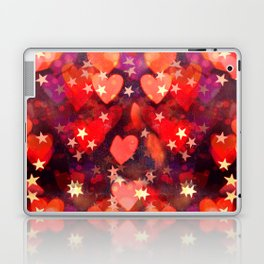 Hearts and stars Valentine bokeh lights sparkle - love heart red glam Laptop & iPad Skin