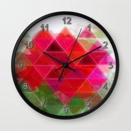 Red Rose Edges Art Triangles 1 Wall Clock