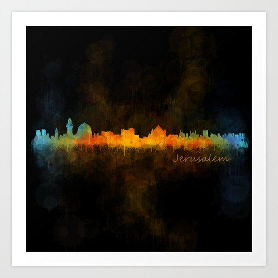 Jerusalem City Skyline Hq v4 Art Print