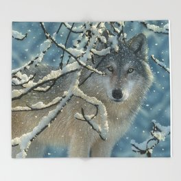Wolf in Snow - Broken Silence Throw Blanket