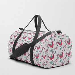 Doodle Llama on Grey Triangle Background Duffle Bag