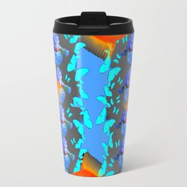 SURREAL GOLD FISH & BLUE BUTTERFLIES ARTWORK Travel Mug