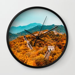 The Great Wall of China in Autumn (Color) Wall Clock