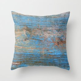 Blue Wood Grain Throw Pillow