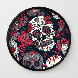Red Sugar Skulls Wall Clock