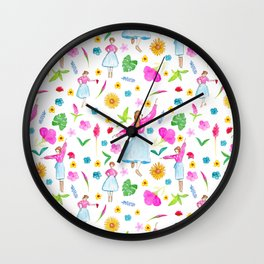 Folk Dancing Flower Maidens Wall Clock