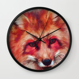 Red fox art #fox #animals Wall Clock