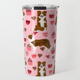 Border Collie red coat cupcakes valentines hearts dog breed pet friendly gifts for collie lovers Travel Mug