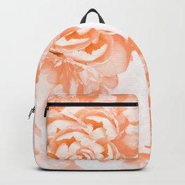 Living Coral Peony Flowers White Background #decor #society6 #buyart Backpack