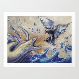 Eel vs. Pigeon Art Print