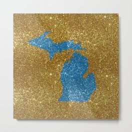 Michigan glitter Metal Print
