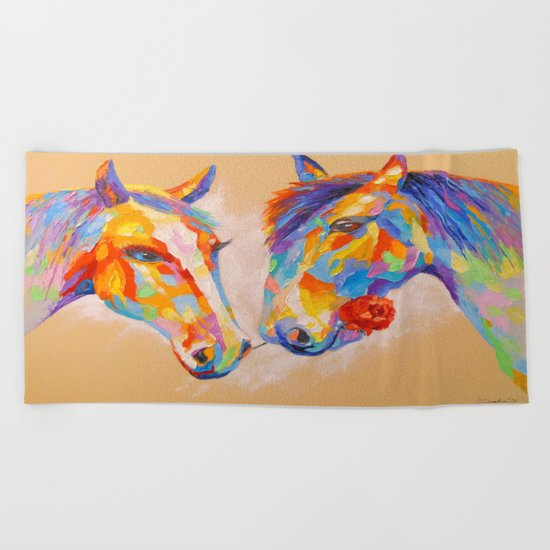 Love horses Beach Towel