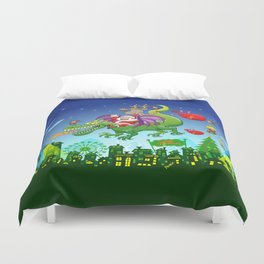 Santa changed his reindeer for a dragon Duvet Cover