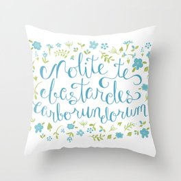 Don't Let the Bastards Grind You Down - Blue Floral Throw Pillow