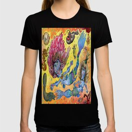 Blue-Finned Mermaids watercolor T-shirt