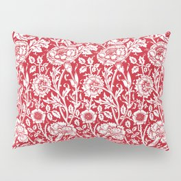 "William Morris Floral Pattern | ""Pink and Rose"" in Red and White Pillow Sham"
