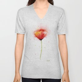 Red Poppy Flower Watercolor Abstract Poppies Floral Unisex V-Neck