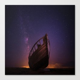 boat under a starry sky Canvas Print