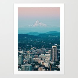 Portland Skyline with Mount Hood Art Print