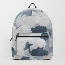 Navy Indigo Turquoise Blue White Gray Mint Abstract Air Clouds Painting Art Print Wall Decor  Backpack